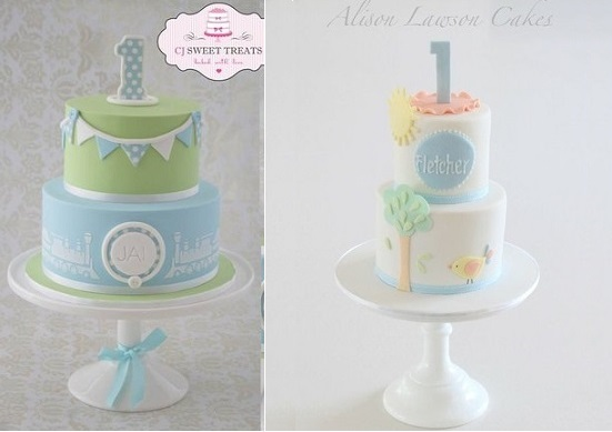 1st birthday cakes by CJ Sweet Treats left and by Alison Lawson Cakes right