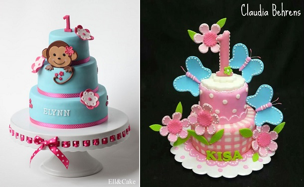 1st birthday cakes by Ell&Cake left and by Claudia Behrens Cakes right
