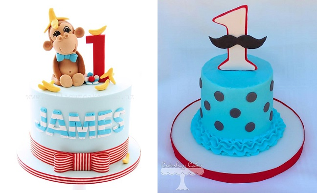 1st birthday cakes for boys by Bella Cupcakes NZ left and Cuteology Cakes right