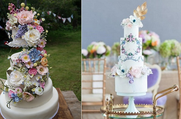 A Midsummer Night's Dream wedding cakes by Amy Swan left and Nadia & Co right, 5ive 15teen Photography