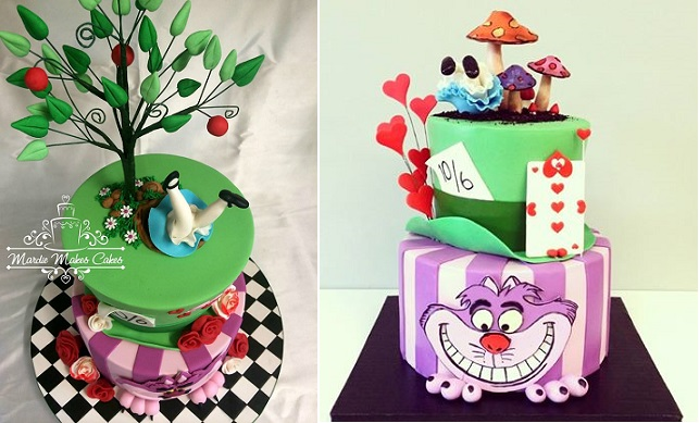 Alice in Wonderland Cakes by Mardie Makes Cakes left and Artylicious Cakes right