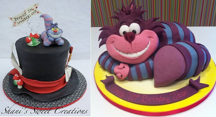 Alice in Wonderland cakes, Cheshire cat cakes by Shani's Sweet Creations left, Richard's Cakes right