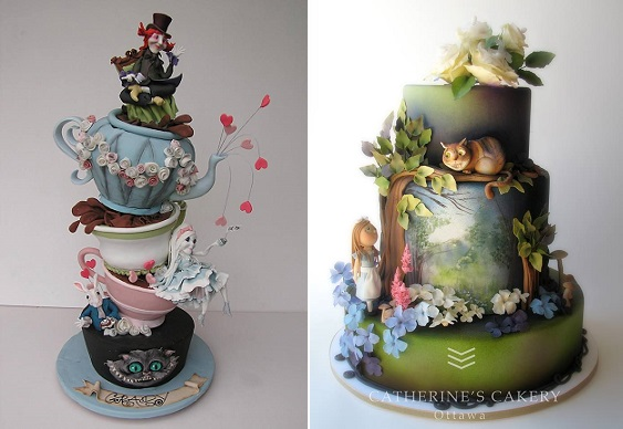 Alice in Wonderland cakes by Cakesalouisa left and Catherine's Cakery right