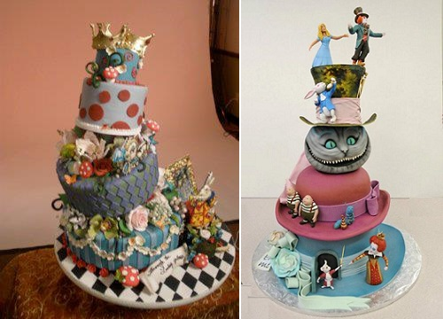 Alice in Wonderland cakes by Reva's Sweet Art left, Mike's Amazing Cakes right