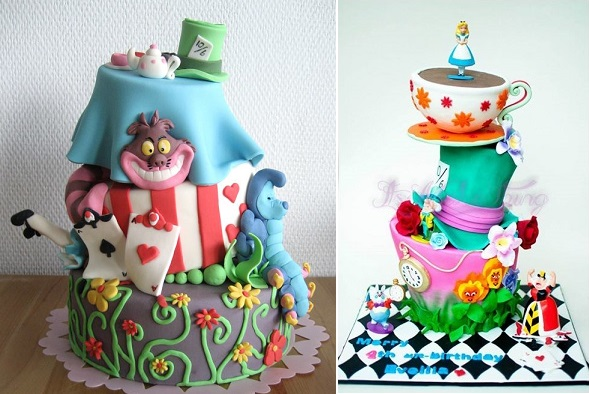Alice in Wonderland cakes by The Cake Dutchess left, It's A Cake Thing by Johanee right