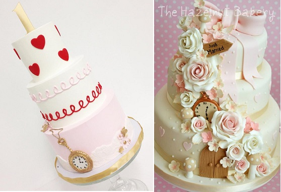 Alice in Wonderland wedding cake by The Hazelnut Bakery right, Sweet and Saucy Shop left