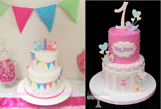 First birthday cakes by Frosted Fantasies AU left and by Cakeology Cakes right