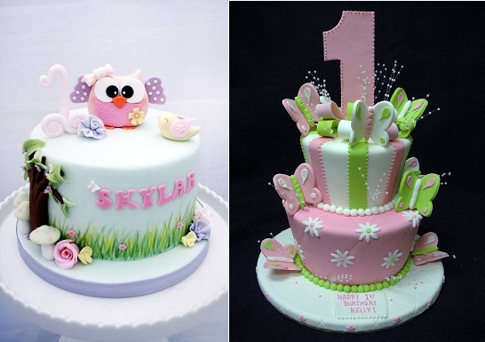 First birthday cakes by the GoGoSugar Company left and by Angel Contreres via Flickr right