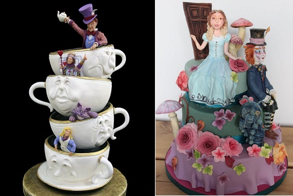 Mad Hatter tea party cake by Mike's Amazing Cakes left, Sweet as Sugar Cakes right