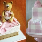 baby shoes cakes by Elegantly Iced, NY left and via Pinterest right