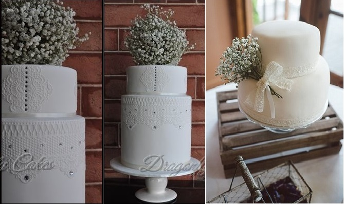 baby's breath wedding cakes by Dragonfly Cakes left and from Pinterest right