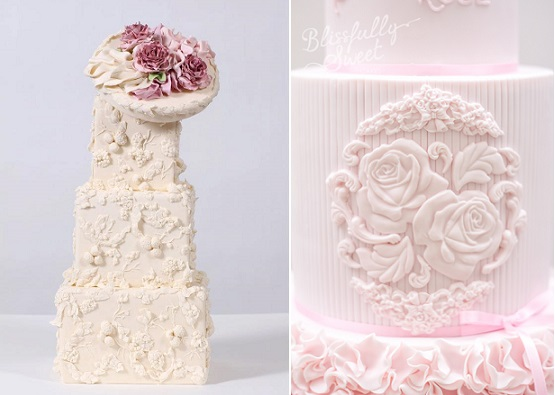 bas relief cake decoration from Nadia & Co left and Blissfully Sweet Cakes right
