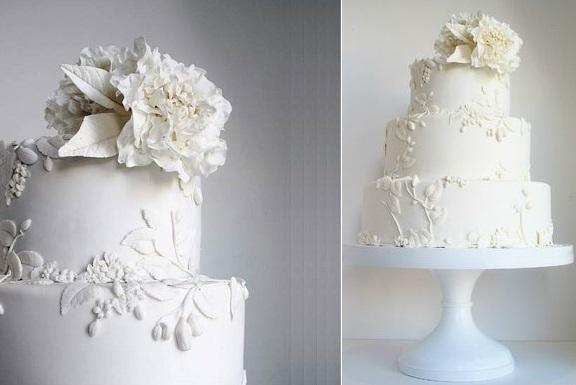 bas relief wedding cake design by Maggie Austin