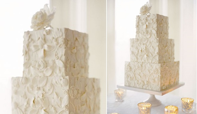 bas relief wedding cake design by Perfect Endings, photo by Jose Villa
