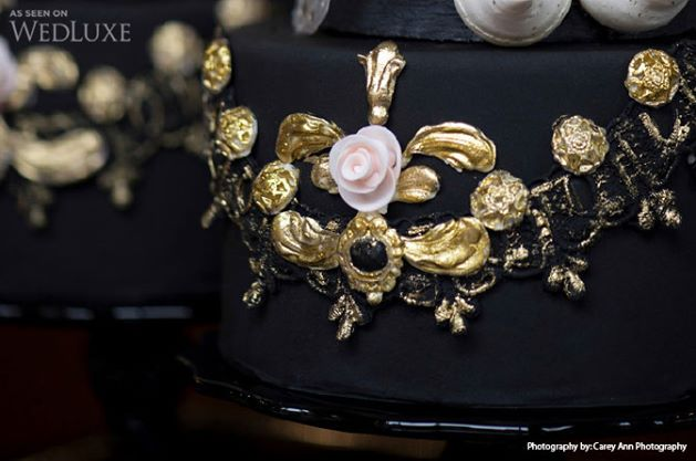 black and gold cake by Nadia & Co., Carey Ann Photography