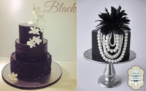 black iced cakes by The Hobby Caker left and Mira Que Tarta right