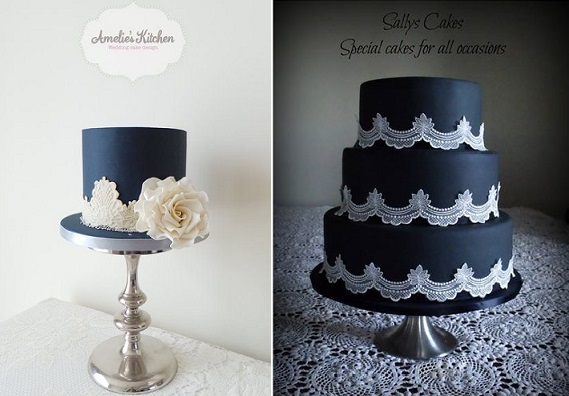 black iced cakes with lace by Amelie's Kitchen and Sally's Cakes