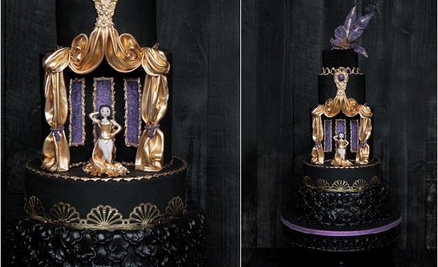 black wedding cake theatre stage cake by Meel Zuiker, The Netherlands