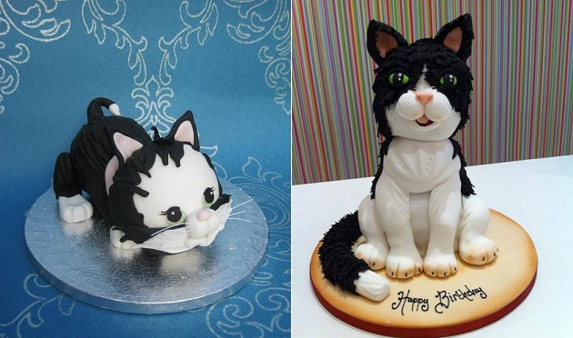 cat cakes by Butterfly Dream Cakes left and Richard's Cakes right
