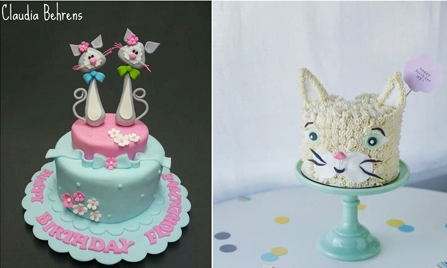 cat cakes by Claudia Behrens left and CoCo Cake Land right