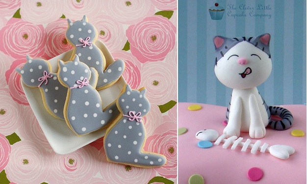 cat cookies from Bake at 350 and cat cake topper by The Clever Little Cupcake Co