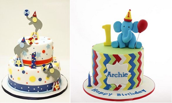 first birthday cakes for boys by Lulu Cake Boutique left and Cake This Edible Art right