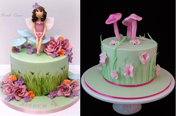 flower fairy cake by Devoli Cakes and toadstool cake by Cakeage