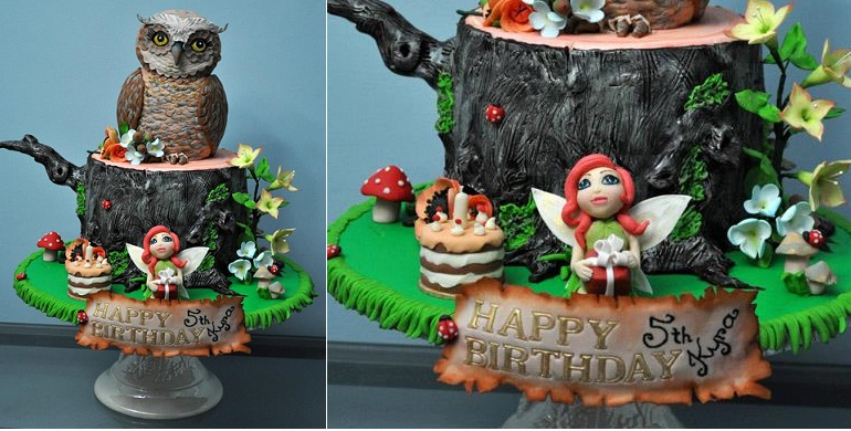 flower fairy woodland cake with owl by Zorica's Cake Art