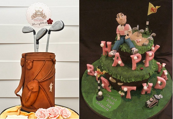 golf bag cake by Sheryl Bito and golfer cake by Butterfly Dream Cakes