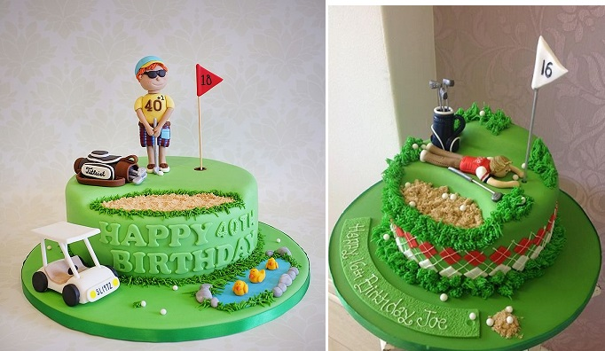 golf cakes by Red Carousel left and by Vanilla Pink right