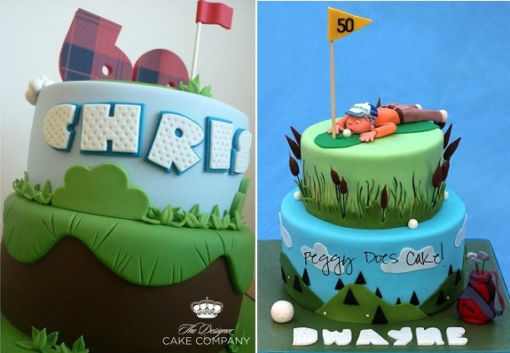 golf cakes for birthdays and fathers day by The Design Cake Co and Peggy Does Cake