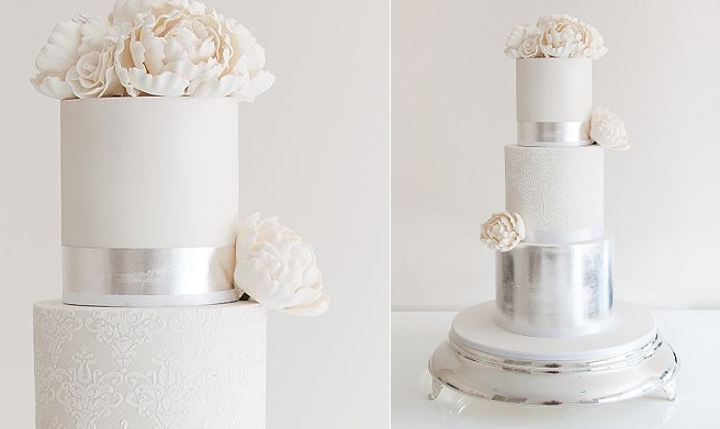 lace and metallic silver wedding cake by Coco Cakes