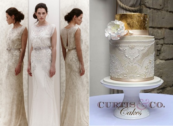 lace and metallic wedding cake by Curtis & Co. Cakes lace beaded wedding cake gold