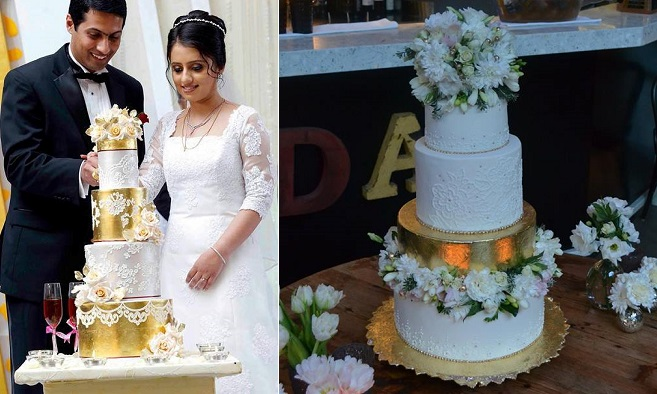 lace and metallic wedding cake gold leaf by Gateaux Inc. left, via Pinterest right