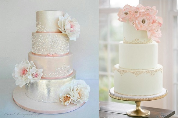 lace and metallic wedding cakes by Sweet Disposition Cakes left and Sugar Suite right with Amalie Orange Photography