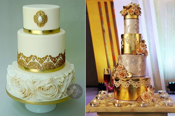lace and metallic wedding cakes by Way Beyond Cakes by Mayen, you tube tutorial and Sweet Art of Mine