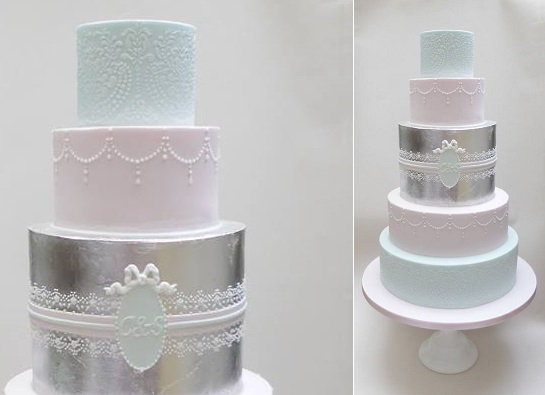 lace, pastel blue and pink and silver leaf wedding cake by Scrumdiddly