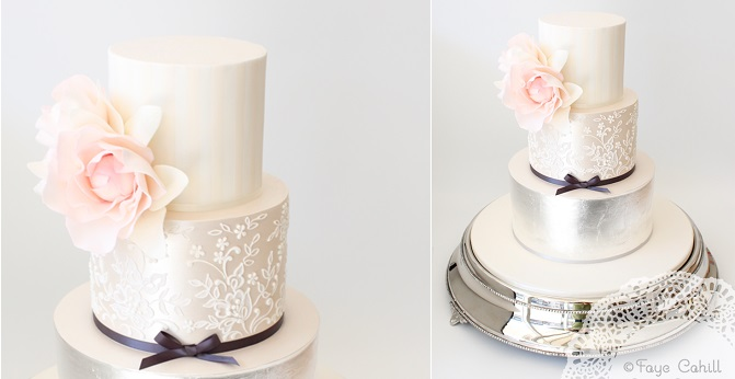 lace wedding cake with silver leaf and pastels by Faye Cahill Cake Design