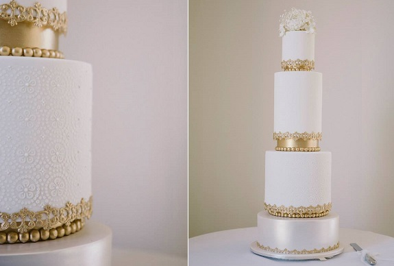 metallic gold and lace wedding cake by Shakespeare's Cakesphere, design by The Whimsical Cakehouse AU
