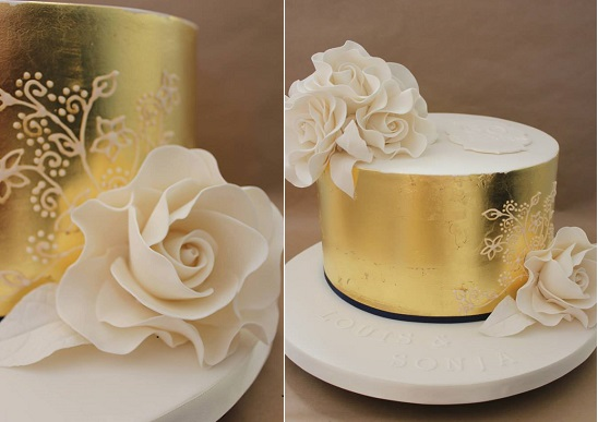 metallic gold leaf and lace piping cake by Dulcie Blue Bakery