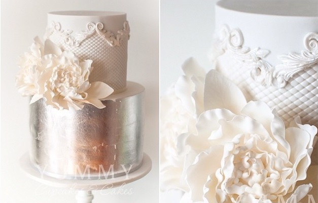metallic silver and lace wedding cake by Yummy Cupcakes and Cakes
