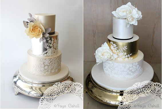 metallics and lace wedding cakes by Faye Cahill Cake Design