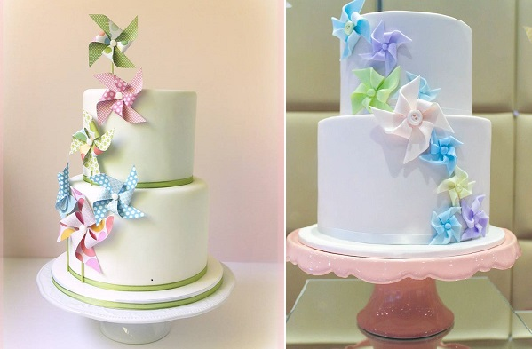pinwheel cakes in pastels, Dream Cakes by Robyn left and Cakes by Sharon right
