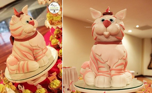 sculpted cat cake by Sugar Couture Cupcakes & Cakes
