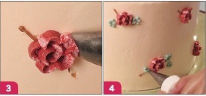 vintage floral buttercream cake tutorial steps 3 and 4