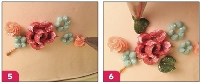 vintage floral buttercream tutorial steps 5 and 6