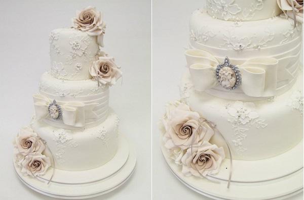 vintage jewellery wedding cake by Emma Jayne Cake Design