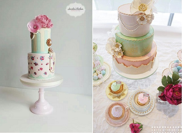 vintage jewellery wedding cakes by Amelie's Kitchen and The Bloom Cake Company