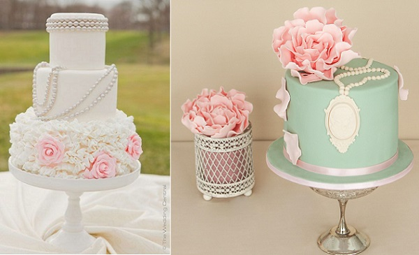 vintage jewellery wedding cakes by nina77 left and Pasteles Alma right