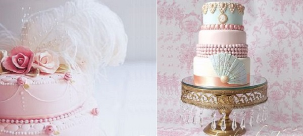 Marie Antoinette inspired cakes by Fiona Cairns left and Cakes by Tess right